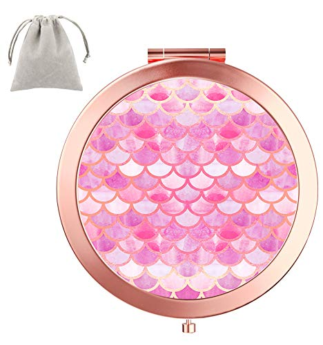 Dynippy Compact Mirror Round Rose Gold MakeUp Mirror Folding Mini Pocket Mirror Portable Hand Mirror Double-sided With 2 x 1x Magnification for Woman Mother kids Great Gift - Pink Mermaid ()