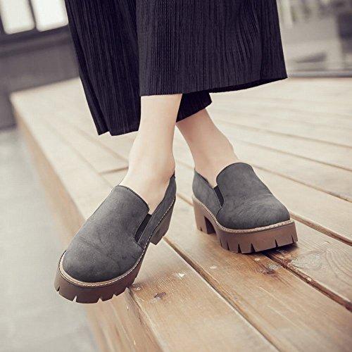 Carolbar Womens Retro Pull-sur La Plate-forme De Confort Chunky Mi-talon Mode Casual Chaussures Gris Foncé