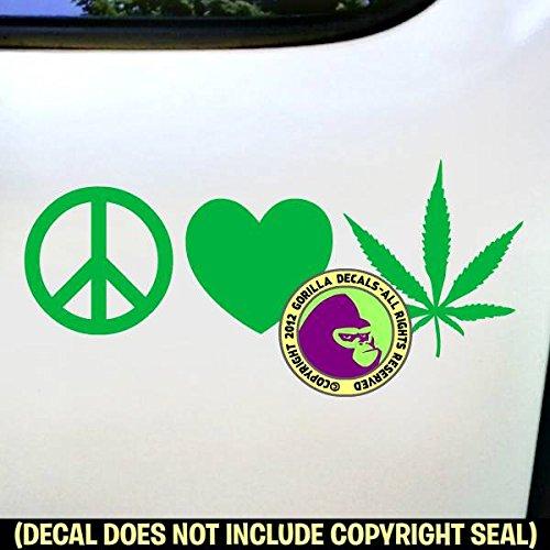 Amazon Peace Love Marijuana Vinyl Decal Sticker F Handmade