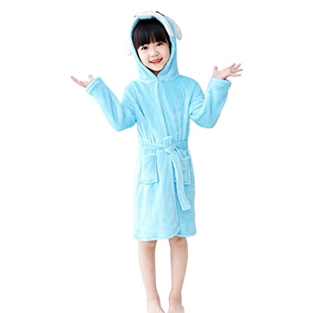 Amazon.com : Luckym Kids Bathrobe Hooded Soft Flannel Sleepwear Comfortable Loungewear (Blue, 100) : Baby