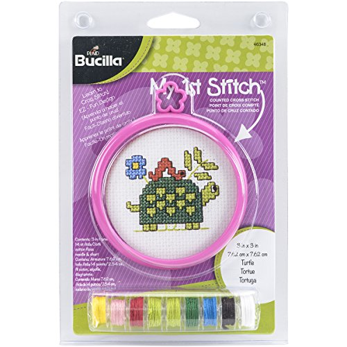 Bucilla My 1st Stitch Mini Counted Cross Stitch, 3-Inch, 46348 Turtle ()