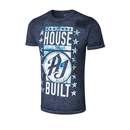 WWE AJ Styles The House That AJ Styles Built Acid Wash T-Shirt Navy Blue Small by WWE Authentic Wear