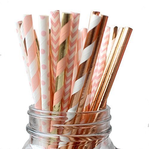 IPALMAY 150 Pieces Rose Gold and Pink Biodegradable Drinking Paper Straws, Striped Polka Dot Chevron, 7.75 -