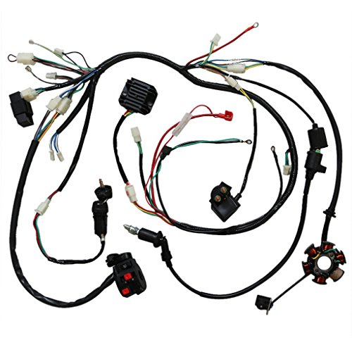 JCMOTO Wiring Harness Loom kit CDI Rectifier Key Ignition Coil Magneto Stator For Gy6 125cc 150cc 250cc ATV Quad Scooter - Wiring Harness Loom