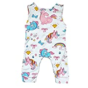 puseky Baby Toddler Girl Cute Pony Sleeveless Romper Jumpsuit Bodysuit Outfits (White, 6-12 Months)