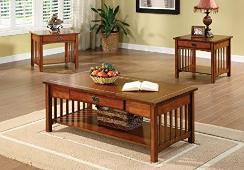Furniture of America Francia 3-Piece Mission Style Table Set, Antique Oak Finish