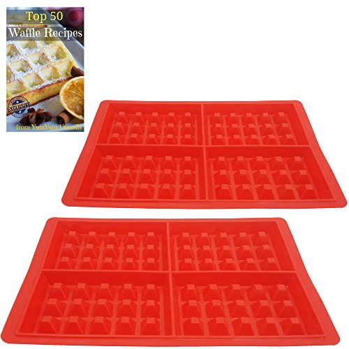 Best Belgian Waffle Maker 4 slice, Double Pack of New Silicone Square Molds, Make 8 Waffles at Once, Non-stick, Easy to Clean, Full Instructions, BONUS eBook Top 50 Waffle Recipes by YumYum Utensils (Face Gas Stove)
