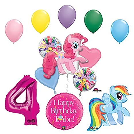 My Little Pony Pinkie Pie And Rainbow Dash 4th Birthday Party Supplies Balloon Decorations