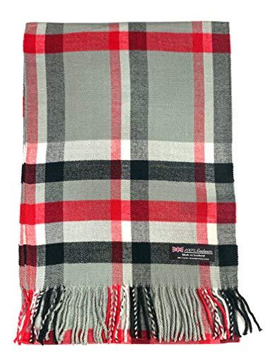 100% Cashmere Scarf Made in Scotland Wool Buffalo Tartan Windowpane Check Plaid (Grey Red Black (BF))