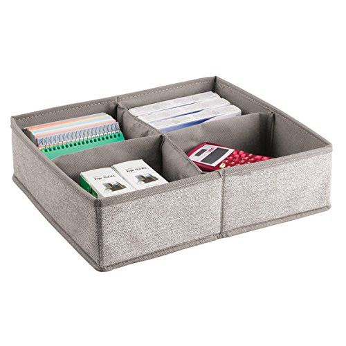 mDesign Drawer Organiser with 4 Compartments - Fabric Storage Box for Office Utensils - Large Drawer Insert for Pens, Notes, Office Clamps etc. - Beige MetroDecor 7411MDO