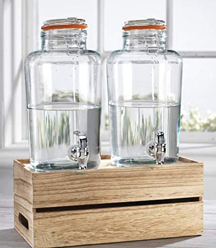 1 Gallon Each Quality Ice Cold Clear Glass Jug Beverage Dispensers Hermetic Seal Metal Display 3 Elegant Home