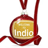 Christmas Decoration Yellow Road Sign Welcome To Indio Ornament