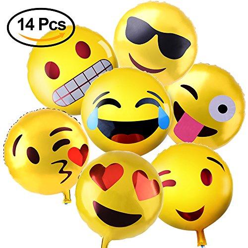 KUUQA 14 Pcs Emoji Mylar Party Balloons Emoji Balloons Emoji Party Decoration Supplies 18