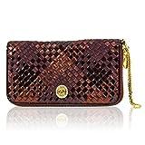 Valentino Orlandi Italian Designer Marsala Red Woven Intrecciato Leather Ziparound Wallet Clutch