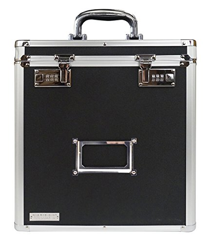 Record Case Holds - Vaultz VZ00490 Locking Vinyl Record Storage Case with 2 Combination Locks, Holds up to 50 Records, 14.4 x 13.4 x 9.6 Inches, Black and Silver