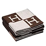 H-Blanket wool Cashmere Knitted Throw Blanket for Couch/Chair/Love Seat/Car Camping Blanket Shawl (55''x63'', Brown)