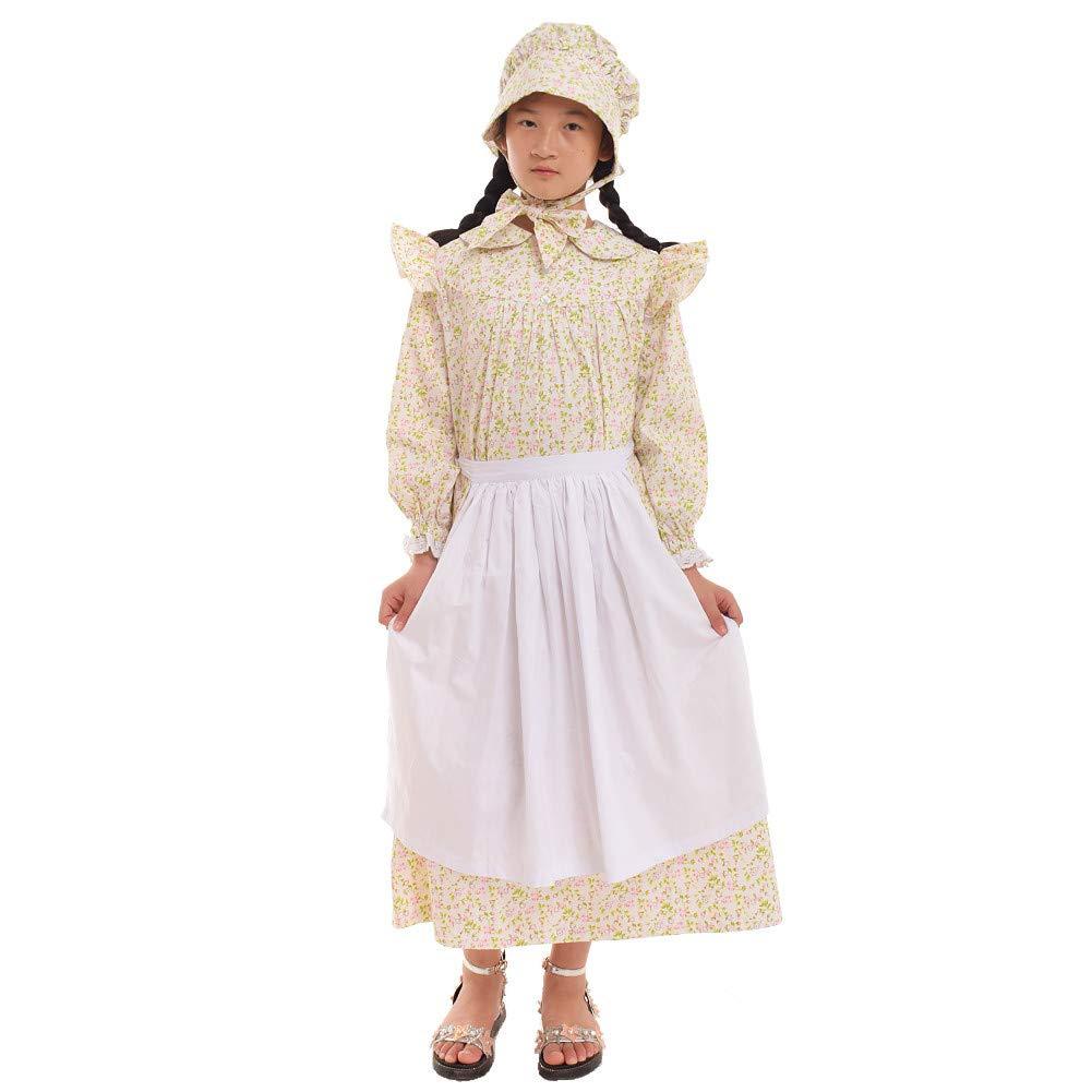 GRACEART Girls' American Pioneer Colonial Costume Prairie Dress 100% Cotton (Beige,Size-7)