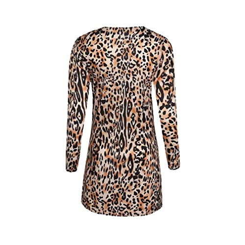 Slim Slim Slim Hibote Leopardo Coat Print Coat Top a Sexy Cardigan Leopard Fashion Scollo Long Casual V Lunga Donna Manica Button Outwear rHnE7Wqar