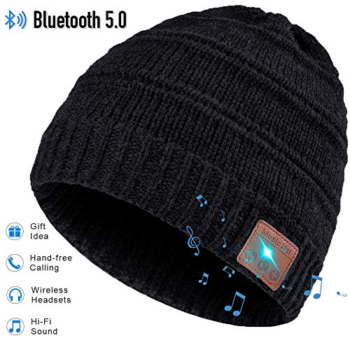 Bluetooth Beanie, Gifts for Men and Women, Fashion Bluetooth Beanie Hat, Bluetooth Hat with Bluetooth Headphones, Hands-free HD Music Calling, Upgraded Bluetooth 5.0, Ultra Soft, Washable, Christmas