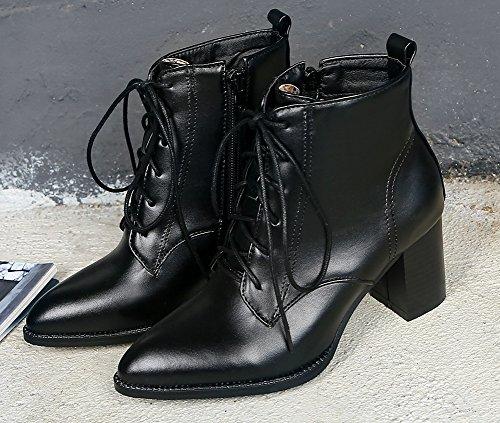 Bottines Cheville Bout Mode Noir Aisun Pointu Chunky Femme 4pwqP