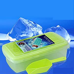 Saumota Large Rectangular Eighteen Ice Cube Tray Ice Chamber Ice Molds With ice scraper and Lidr-Yellow