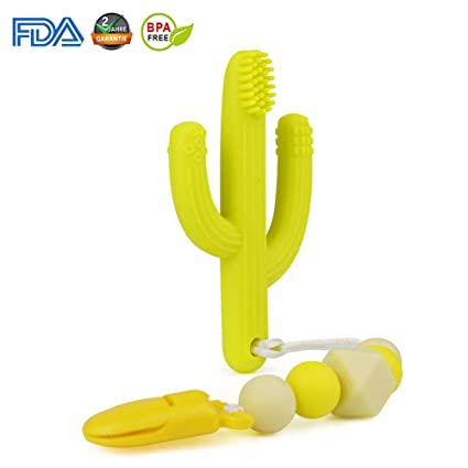 Yellow 0-12 Months Self-Soothing Pain Relief Teether Training Toothbrush for Babies Toddlers Nibblit Cactus Teething Toy Toothbrush Boy and Girl Infants BPA Free