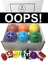 Kids OOPS Bubble Bath Bombs(with Cosmetic Imperfections) with Toy Surprises Inside(Gender Neutral) - Set of 6 Different Colors