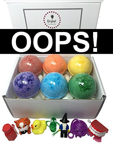 Price comparison product image Kids OOPS Bubble Bath Bombs(with Cosmetic Imperfections) with Toy Surprises Inside(Gender Neutral) - Set of 6 Different Colors