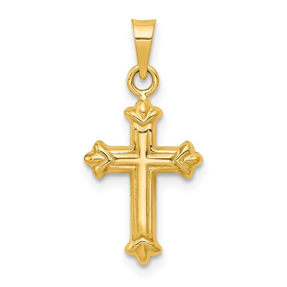 Jewel Tie 14k Gold Hollow Polished Fleur de Lis Cross Pendant Charm 0.9 Height