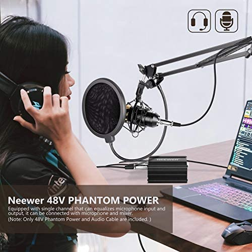 Neewer 1-Canal Phantom 48V Alimentación Suplimiento Negro con Adaptador y Cable de Audio XLR para Caulquier Micrófono Condensador Músico Equipo de ...