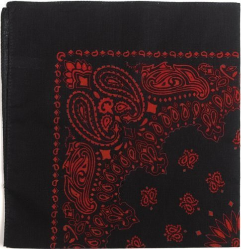 Bandanas By The Dozen 100% Cotton 12-Pack 22'' x 22'' - Paisley Black & Red