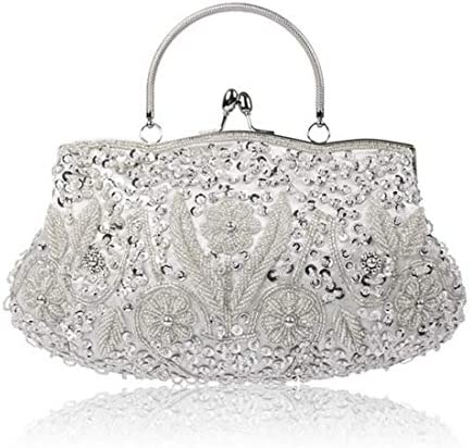 ウィメンズヴィンテージビーズスパンコールイブニングバッグ、ウェディングパーティートート、クラッチバッグ、30 * 26 Cm(カラー:シルバー) 美しいファッション (Color : Silver)