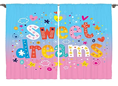 Ambesonne Girls Boys Nursery Kids Room Decor Collection, Sweet Dreams Colorful Ombre Stars Flowers Clouds Hearts Funny Design, Window Treatments for Kids Bedroom Curtain 2 Panels Set, 108X63 Inches