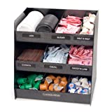 Vertiflex Vertical 3-Shelf Condiment Organizer, 9 Compartments, 14.5 x 11.75 x 15 Inches, Black (VRTVFC1515)