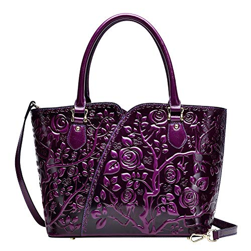 PIJUSHI Designer Handbags For Women Floral Purses Top Handle Satchel Handbags (22328 violet)