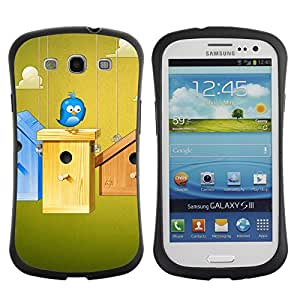 Be-Star Impreso Colorido Diseño Antichoque Caso Del iFace Primera Clase Tpu Carcasa Funda Case Cubierta Par SAMSUNG Galaxy S3 III / i9300 / i747 ( Cute Blue Bird )