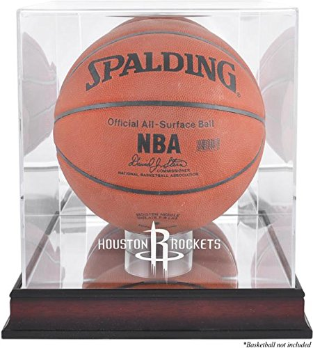 Houston Rockets Mahogany Logo Basketball Display Case and Mirror Back (Cases Houston Display)