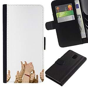 NEECELL GIFT forCITY // Billetera de cuero Caso Cubierta de protección Carcasa / Leather Wallet Case for Samsung Galaxy Note 3 III // Divertido PULGARES PARA ARRIBA