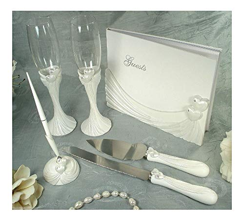 Guest Book, Toasting Flutes, Cake Set and Pen Set Heart Design Wedding -