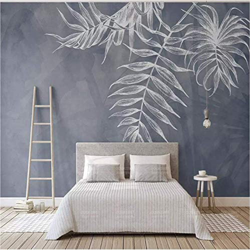 (ATR 3D Nordic Leaf Texture Navy Blue Photo Mural Wallpaper Bedroom Living Room Tv Background Waterproof 3D Wall Cloth Fresco, 200X140 cm (78.74X55.12 in))
