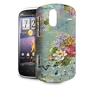Phone Case For HTC Amaze 4G - Grunged Florals on Green Lightweight Cover by lolosakes