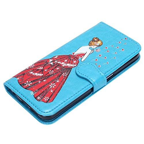 Galaxy S6 Hülle,Schutzhülle für Galaxy S6,Galaxy S6 Ledertasche Handyhülle Brieftasche im BookStyle,Hpory Schön Kreativ 3D Bunte Kunst Gemaltes Malerei Muster Kunstleder im Bookstyle PU Leather Folio  Löwenzahn Göttin,blau