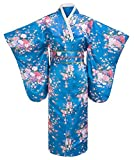 Kimono Palace Women's Traditional Flower Prints Classy Kimono Robe With Bag