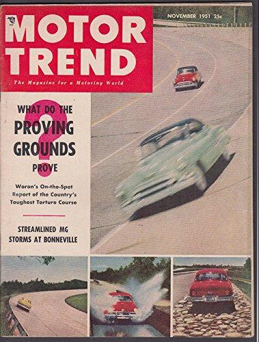 MOTOR TREND Cadillac Gardner Bonneville MG Sports speed records + 11 1951 - Motor Trend Cadillac