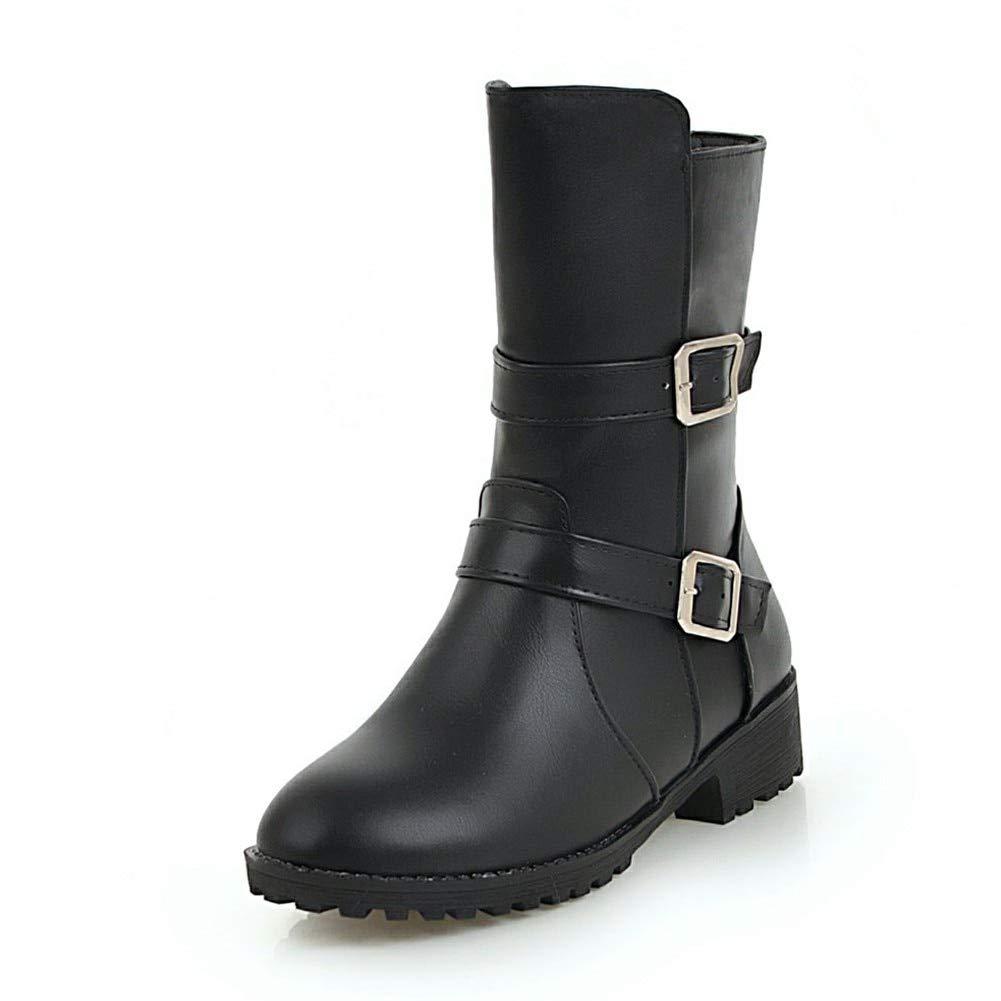 noir HOESCZS 2018 Grandes Tailles 34-44 Chaussures Femme Bottes Cowboy Ouest Boucles De Mode Bottes d'hiver Bottes Femme Chaussures