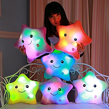 Luminous Pillow Christmas Toys Starfish Plush Toys Flashing Pillow Wedding Birthday Gift Cushion Fortune Doll pusheen