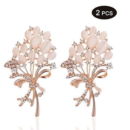 TAGOO Womens Tulip Lily Muliticolor Flower Leaf Shape Rhinestone Crystal Brooch Safty Shawl Pin Clip for Wedding/Dailywear/Banquet/Bouquet (2 PCS Gold Floral Bouquets (Elrond Crown)