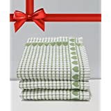 Kitchen Towels , Love Gift, Highly Absorbent, Low Lint, 100% Cotton Dish Towels, High Quality Check Print. Tea Towels, 19 X 31. Bleachable Towels From Roseberry Linen, (Green, 3 Pieces) by Roseberry Linen