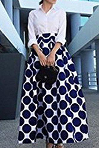 Women 's Polka Dot Puff Maxi Falda Llevar A Fiesta De La Oficina Blue
