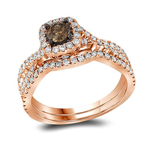 - Mia Diamonds 14k Rose Gold Womens Round Chocolate brown Diamond Bridal Wedding Engagement Ring Band Set (1.00 cttw.) (I2-I3 clarity; Brown color)